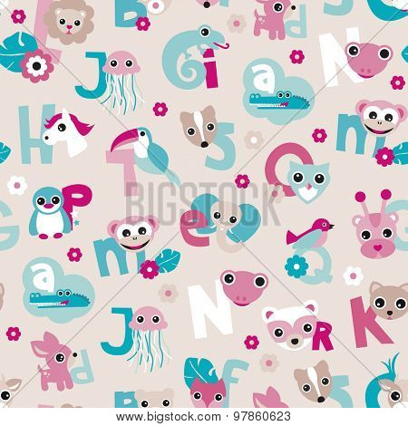 Seamless kids alphabet abc back to school lettering animals poster illustration background pattern in vector