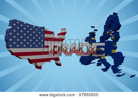 American and EU map flags with trade text illustration