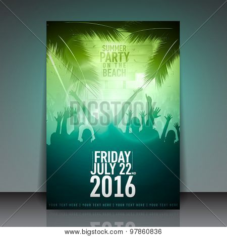 Summer Beach Party Flyer - Vector Template Design