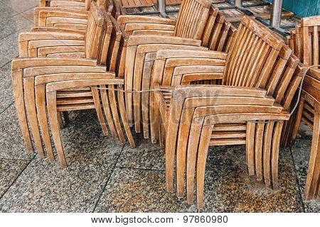 Street Cafe Chairs And Table In France