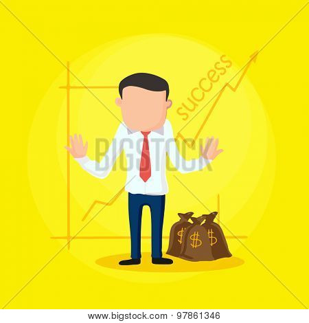 Illustration of a young business man with money bag and success graph on yellow background.