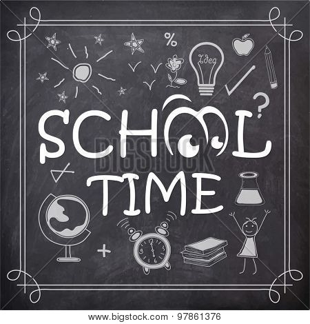 Stylish text School Time with educational icon elements created by white chalk on blackboard background.