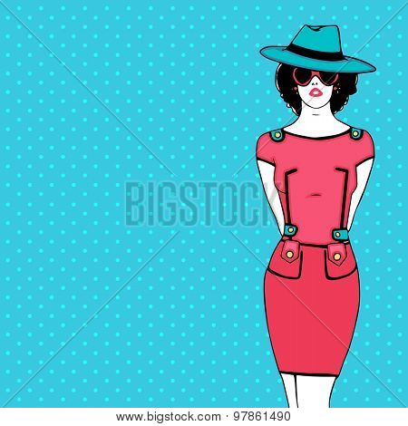 Retro young fashionable girl in stylish dress with hat and glasses on vintage sky blue background.