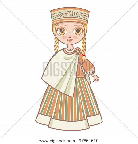 doll in the Latvian suit. Historical clothes. Latvia. Latvijas.