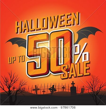 Halloween sale background. Vector illustration