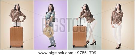Asian beauty with hat, full length portrait isolated with clipping path.