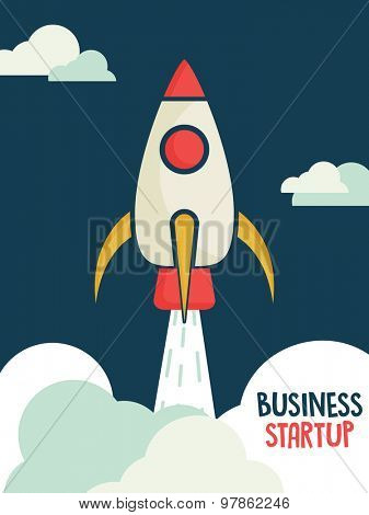Creative template, banner or flyer design with illustration of a rocket in the sky on blue backgrond for business startup concept.