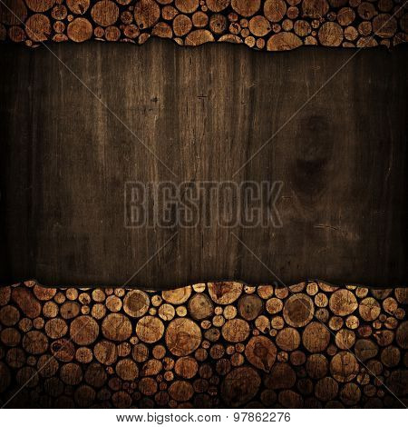 old wood board with stumps frame