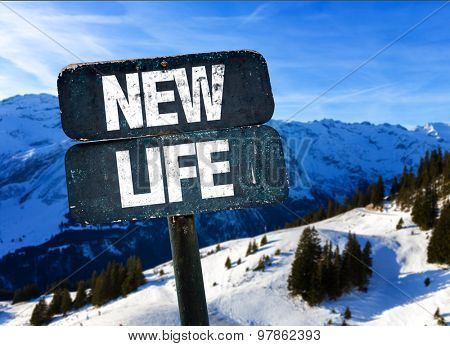 New Life sign with winter landscape on background