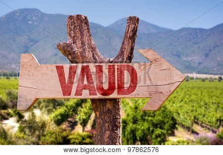 Vaud wooden sign with winery background