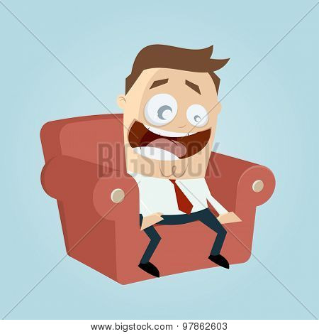 funny cartoon man on couch is excited