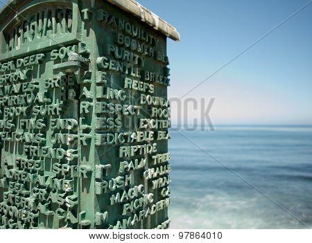 Lifeguard box at Pacific Ocean