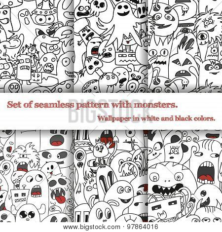 Set Of Six Seamless Pattern With Doodle Monsters
