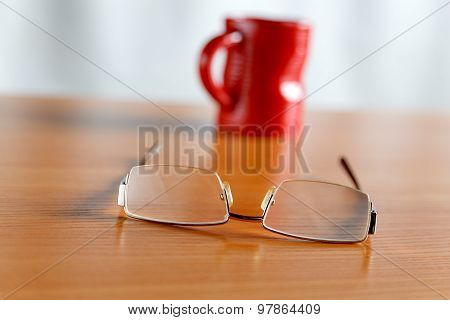 Still Life With Glasses And A Red Cup