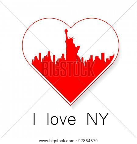 I love New York - a template to mark. The idea for the label design, printing on clothing, decor souvenirs.
