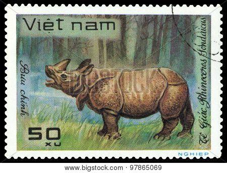Vintage  Postage Stamp.  Rhinoceros Sondaicus.