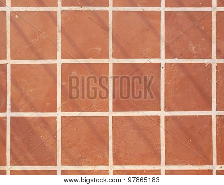 Terracotta Floor Square Tile Background Texture