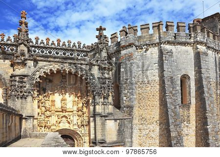 The monument of medieval religious architecture. Well protected and beautifully decorated palace of the Templars in Tomar. Portugal