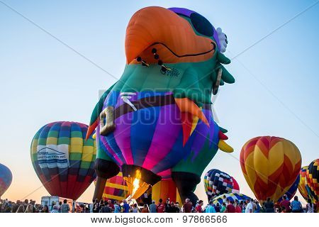 Colorful parrot pirate shaped hot air balloon on display