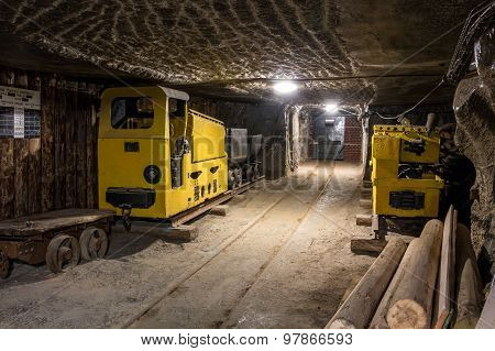 Underground Mine Tunnel With Mining Equipment