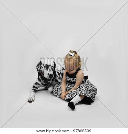 Little Girl And Dog Dalmatian