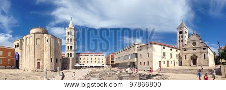 ZADAR, CROATIA - 2 AUGUST 2015: Church of St. Donatus and St Mary in the centre of old town. This is the main central point and crossroad of the old city.
