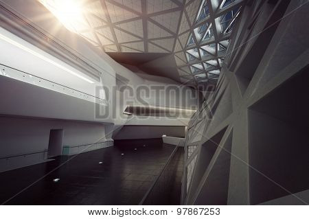 Modern Design Empty White Atrium or Hall Interior. 3d Rendering.