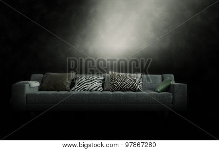 Large three-seater couch with cushions in a gloomy smoky atmosphere illuminated from above by a ray of light, with copyspace. 3d Rendering.