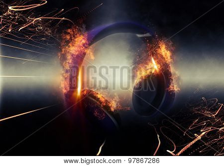 Modern Illuminated Headphones with Fire Effect Dramatically Lit from Side with Small Light Beams. 3d Rendering.