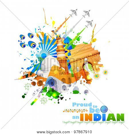illustration of India background with monument and culture
