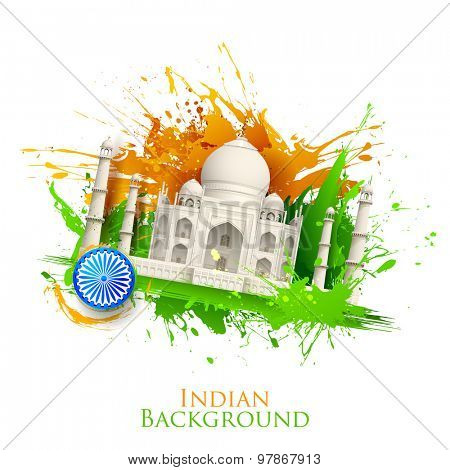 illustration of Taj Mahal with Tricolor India grunge