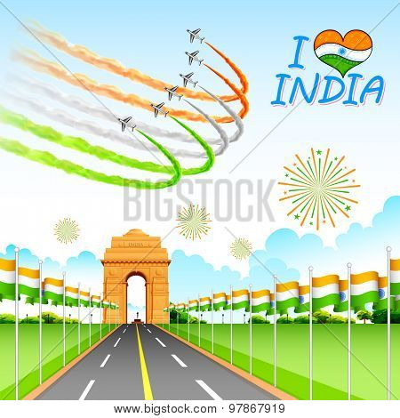 illustration of airplane making Indian tricolor flag around India Gate