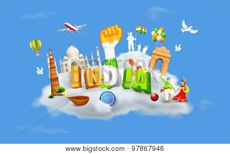 illustration of monument and dancer on cloud showing culture of India