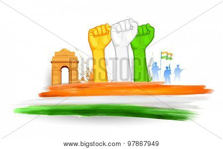 illustration of fist in Indian tricolor with India Gate