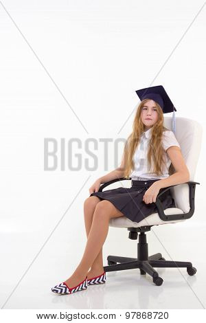 Schoolgirl Sit On Chair, Thinking About Future, Isolated