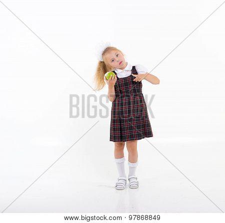 School Girl Eat Green Apple, Isolated