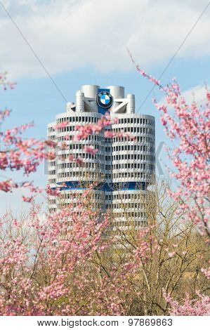 Bmw Headquarters Tower Office Building In Spring Blossoming Olympiapark