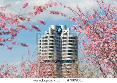 Tower Building Bmw Head Office Framed Pink Spring Flowering Branches