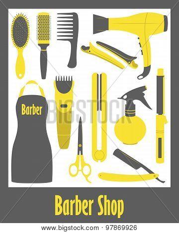 Barber Shop vector icons set