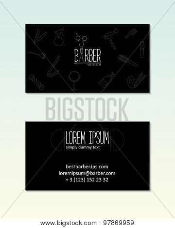 Barber Shop Visit Card Template With Line Icons.