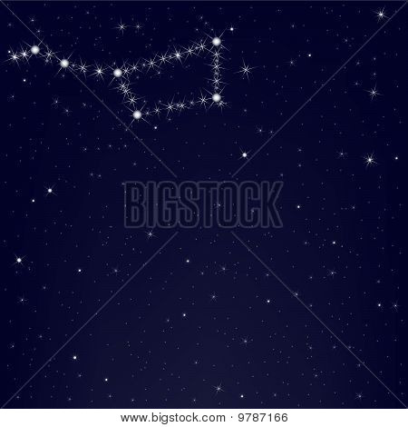 Dark Blue Sky With Constellation Of Ursa Major