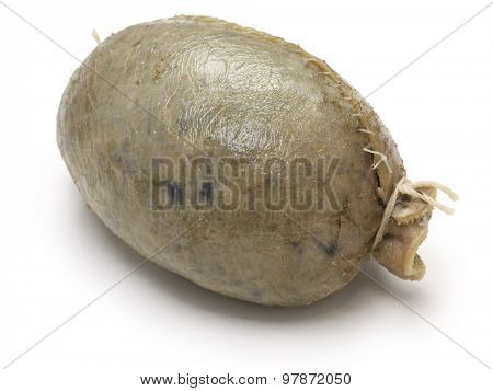 homemade haggis, scotland food isolated on white background