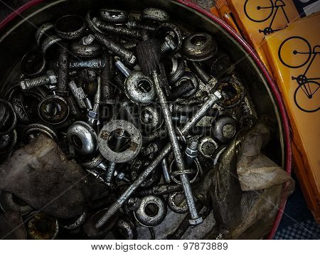 Bolts, Screws, Washers And Nuts Of The Different Sizes And Of Different Function.