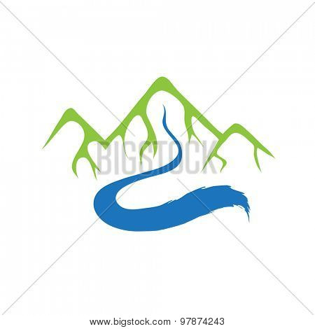 Mountain and river, vector logo illustration
