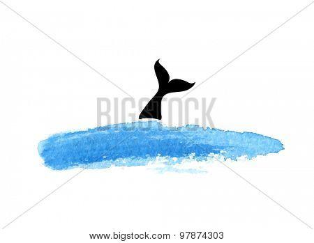 fish in water, vector logo illustration