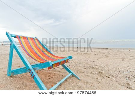 beach chair on the beach at chonburi thailand