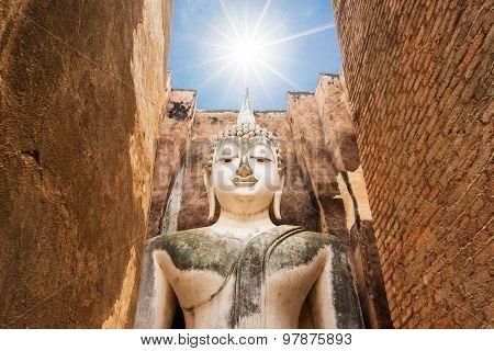 Big buddha statue at Sukhothai historical park. Srichum Temple ,Thailand.