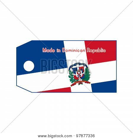 Dominican Republic Flag On Price Tag With Word Made In Dominican Republic Isolated On White Backgrou
