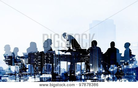 Silhouette Business People Discussion Cityscape Meeting Concept