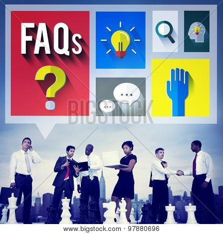 Frequently Asked Questions Help Inforamtion Answer Concept